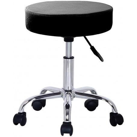 Taburete giratorio con ruedas, taburete rodante regulable para trabajo, estudio, oficina, clínica (color negro)